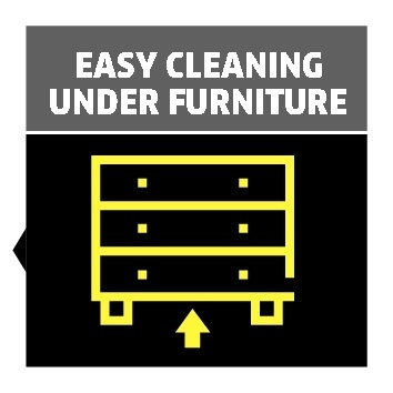 easy cleaning under furniture
